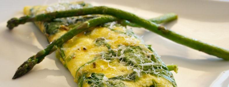 Omelette aux Asperges et Epinards