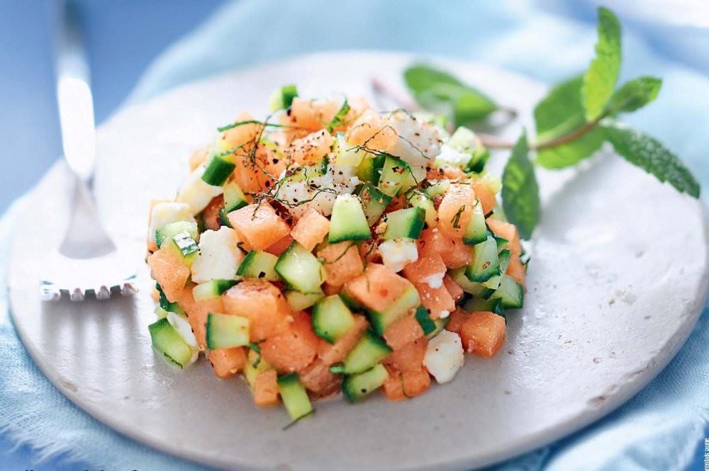 Melon, Concombre, Feti de Brebis et Menthe en tartare